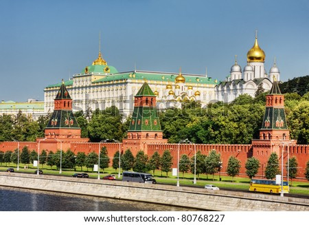 the Moscow Kremlin and the waterfront. Moscow. Russia - stock photo