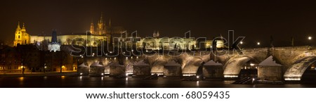 the most popular panoramic view of Prague - stock photo