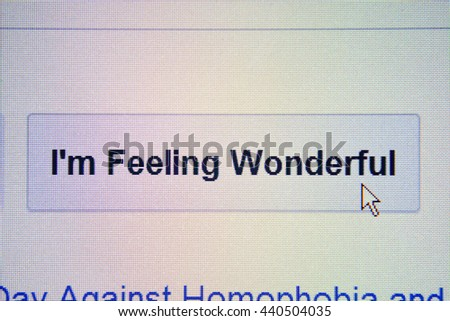 The mouse arrow is stuck in the i`m feeling wonderful