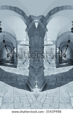 The narrow streets of old city. Jerusalem. - stock photo