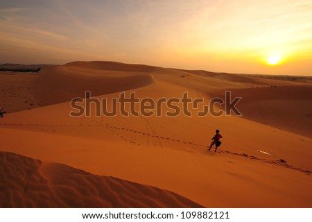 The Nature Explorer in the Deserts - stock photo