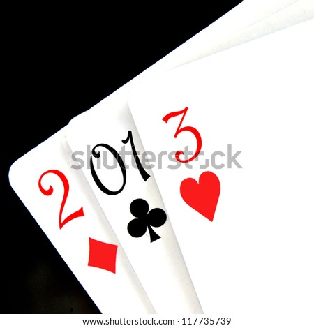 2013, the new year, written with playing cards - stock photo