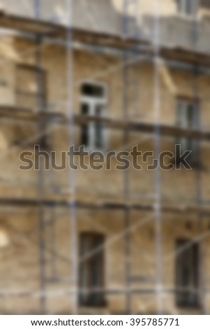 the old building during its restoration and recovery, close up, defocus - stock photo