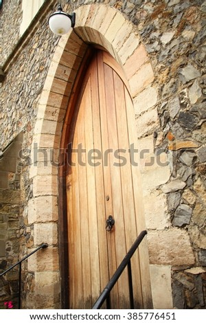 The old church door represent the decoration and construction concept related idea.