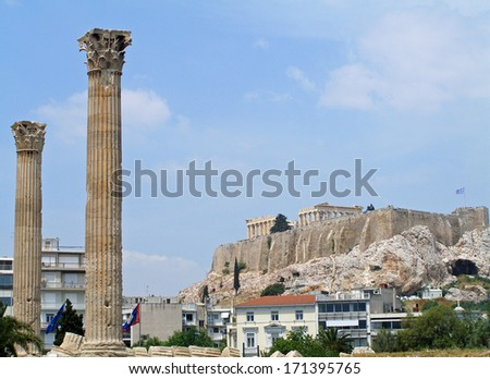 the parthenon as seen from the temple of olympian zeus in athens, greece       - stock photo