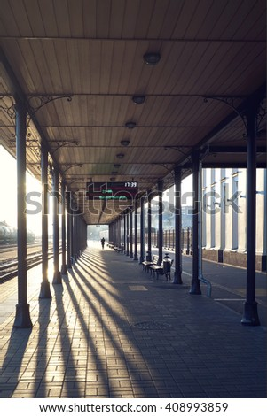 The platform roof at the railway station in the city of Rybinsk in Russia.