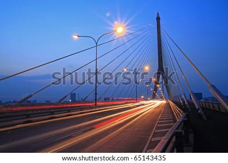 The Rama VIII bridge over the Chao Praya river (Bangkok, Thailand) - stock photo