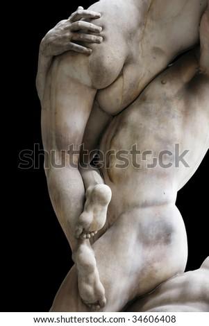 """""""The Rape of the Sabine Women"""" by Giambologna (Jean de Boulogne's),  Piazza della Signoria in Florence, Italy - stock photo"""