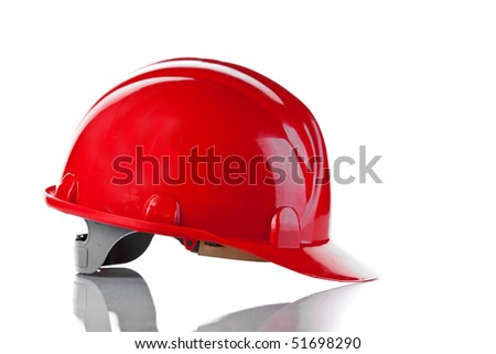 the red bright helmet - stock photo
