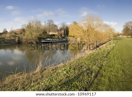 the river avon bidford on avon warwickshire the midlands england uk - stock photo