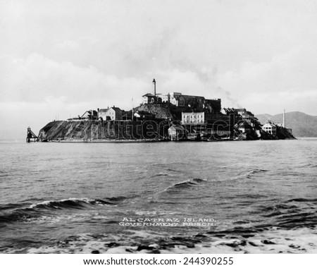 'The Rock' United States Penitentiary on Alcatraz Island in San Francisco Bay California. Ca. 1940s. - stock photo