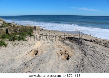 The rough bumpy boggy 4wheel drive track leading to  Hutt's Beach near Bunbury Western Australia on a fine morning in late winter.