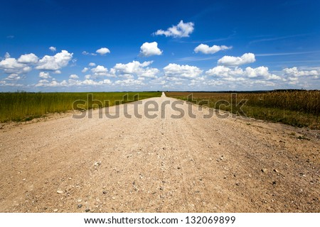 the rural not asphalted road passing through an agricultural field - stock photo