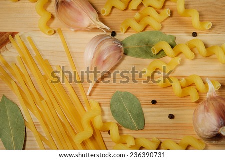 the set of products - pasta, spices, garlic