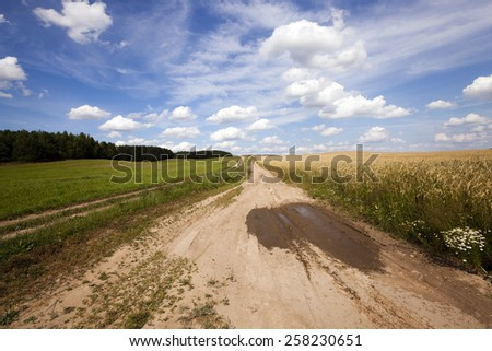 the small not asphalted road in rural areas - stock photo