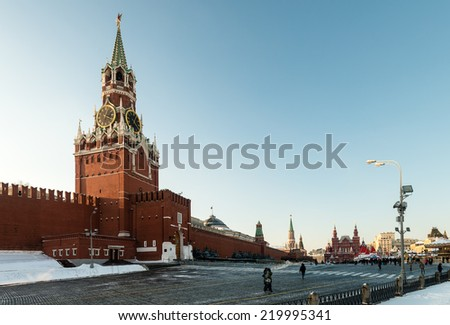the Spassky Tower of Moscow Kremlin at Red Square in Moscow. Russia. - stock photo