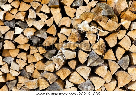 the split firewood photographed by a close up - stock photo