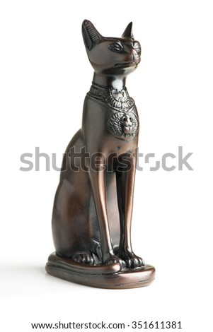 the statue of a cat on a white background - stock photo
