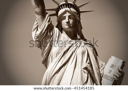 the Statue of Liberty in sepia - stock photo