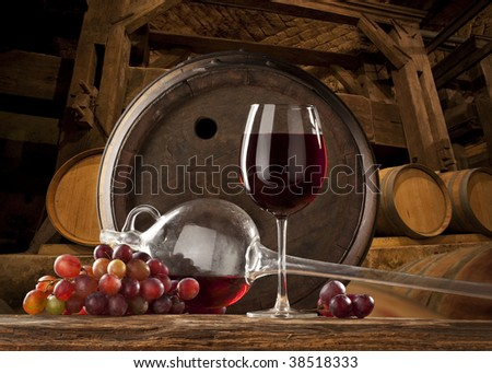 the still life with glass of red wine - stock photo