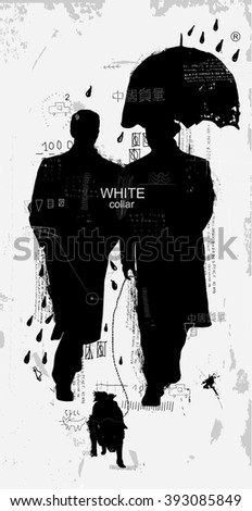 "The symbolic image of gentlemen who walk in the rain Translation - ""The Chinese quality"" - stock photo"