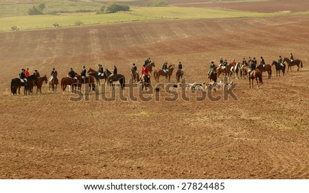 The traditional start of fox hunting. - stock photo