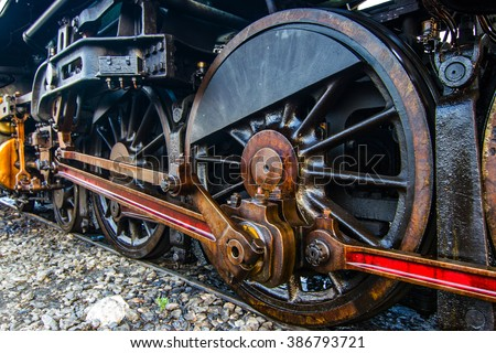 The train wheel. of Steam locomotive - stock photo