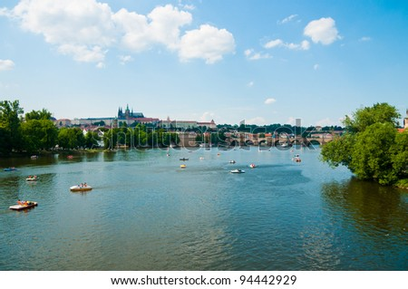The View on summer Prague above River Vltava - stock photo