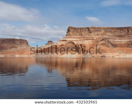 The Walls of Glen Canyon Reflected in Lake Powell - stock photo