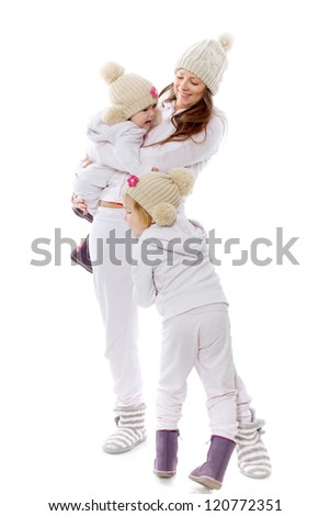 The woman with two children on a white background - stock photo