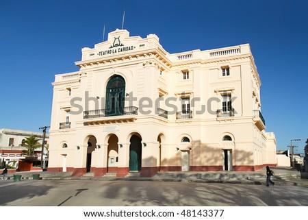 Theater Caridad in Vidal park built in 1885, Santa Clara,   Cuba - stock photo