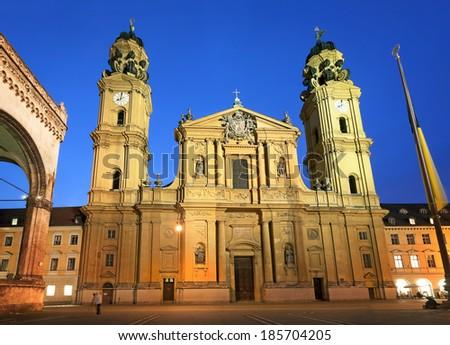 Theatine Church of St. Cajetan at night. Munich, Germany - stock photo