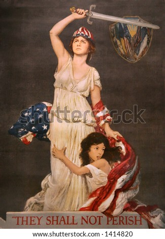 'They Shall Not Perish poster art (1918) by Stephen Arnold Douglas Volk - a statement of America's role as protector of the oppressed peoples of the world during WWI. - stock photo