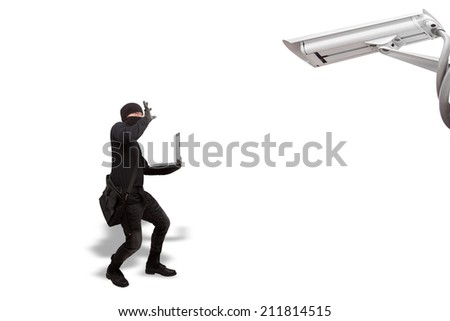 thief surrendered criminal stealing a laptop computer protection by camera security in concept  cyber criminal committing Internet isolated on white background with clipping path - stock photo