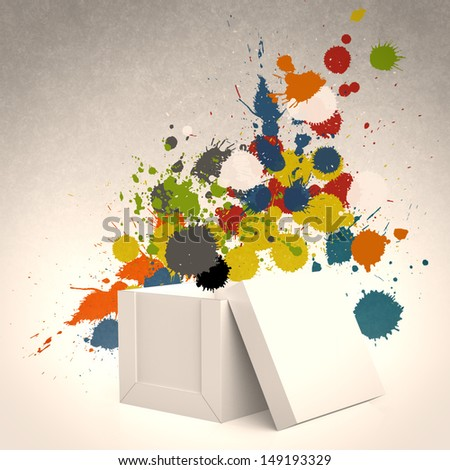 thinking outside the box and splash colors as concept - stock photo