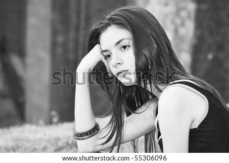 thinking teenager girl - stock photo