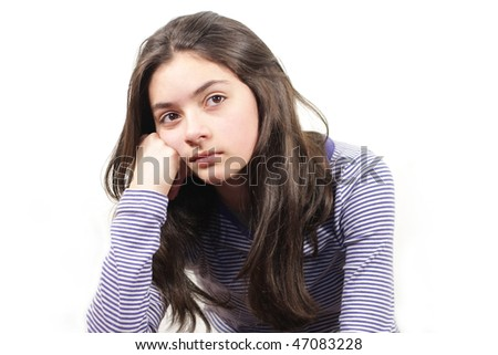 thinking young woman on white  background - stock photo