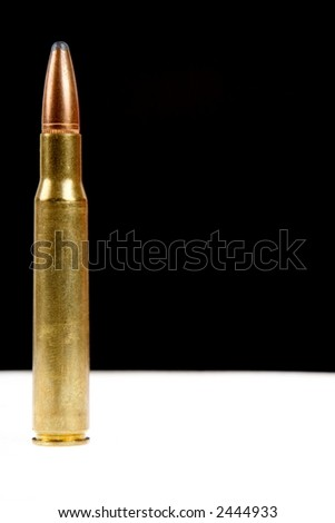 "30-06 ""thirty aught six"" high power rifle ammunition on black and white - stock photo"
