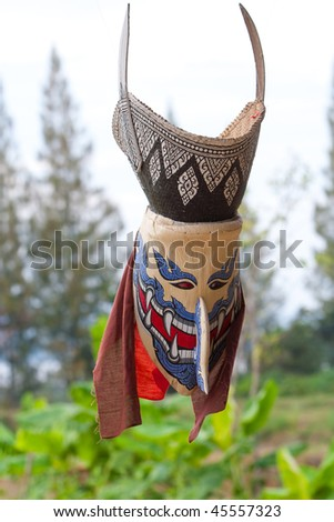 This is Thai classic masked play. It is named Phi-Ta-Khon in Thai - stock photo