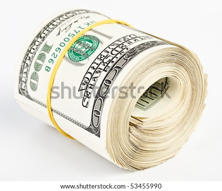 10 thousand US dollars rolled up on white background - stock photo