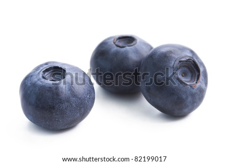 Three blueberries isolated on white background. - stock photo