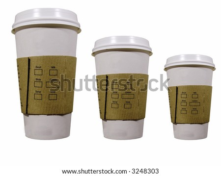 three coffee cups to go - stock photo