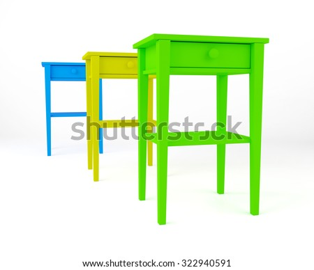 three color bedside table yellow blue green