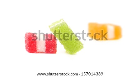 Three different fruit-paste candies. Isolated on a white background
