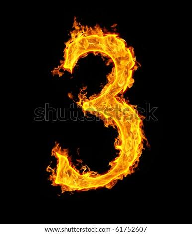 3 (three), fire figure - stock photo