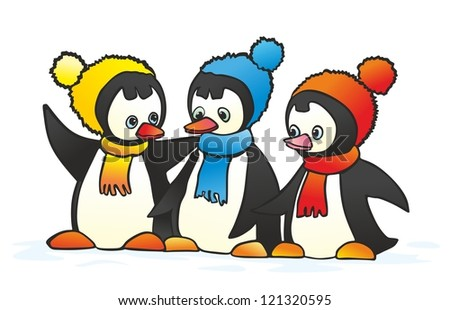 """""""three gay penguin in colorful hat and scarf"""" - stock photo"""