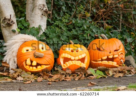 three halloween pumpkin