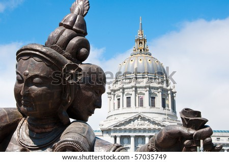 """Three Heads, Six Arms"" Buddhist Sculpture in San Francisco."