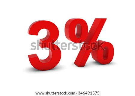 3% - Three Percent Red 3D Text Isolated on White