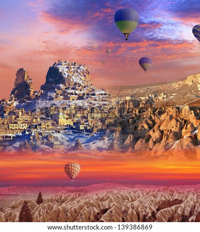 three separate regions of Cappadocia (abstract background) - stock photo